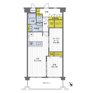 1SLDK {building type} in Hommachi - Toyonaka-shi Floorplan