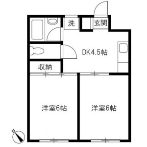 2DK Apartment in Makuharihongo - Chiba-shi Hanamigawa-ku Floorplan