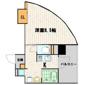 1K Mansion in Shimmachi - Osaka-shi Nishi-ku Floorplan
