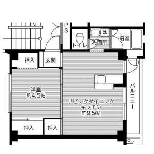 福岡市西区内浜-1LDK公寓大厦 楼层布局