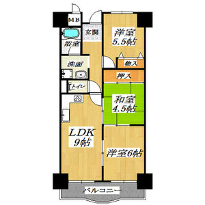 3LDK Mansion in Nonoe - Habikino-shi Floorplan