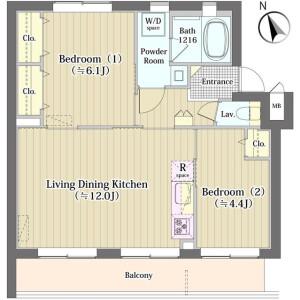 2LDK Mansion in Nakazato - Kita-ku Floorplan