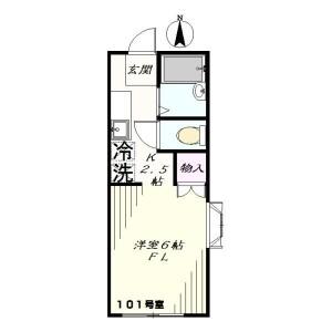 1K Apartment in Fujimoto - Kokubunji-shi Floorplan