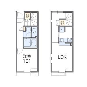 1LDK Apartment in Nogata - Nakano-ku Floorplan