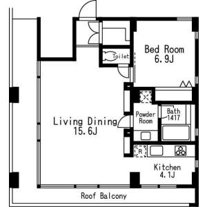 1LDK Mansion in Mita - Meguro-ku Floorplan