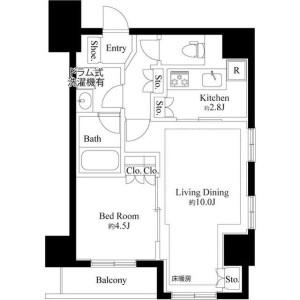 1LDK Mansion in Ginza - Chuo-ku Floorplan