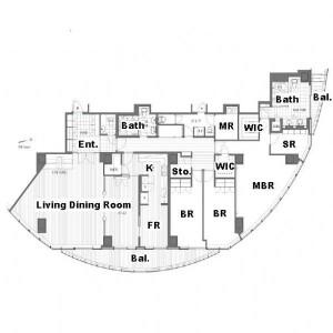 3LDK Apartment in Atago - Minato-ku Floorplan