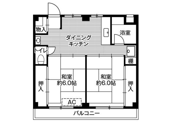 2DK Apartment to Rent in Kamagaya-shi Floorplan