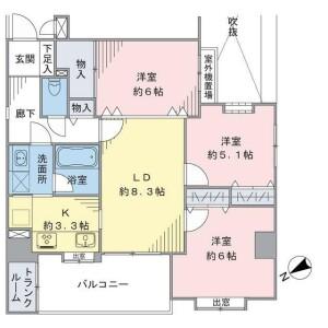 3LDK {building type} in Yamashitacho - Yokohama-shi Naka-ku Floorplan
