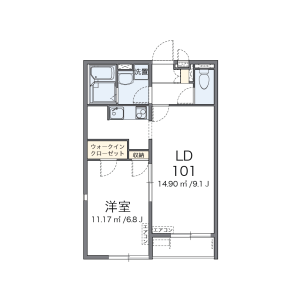 1LDK Apartment in Miyamachi - Yao-shi Floorplan