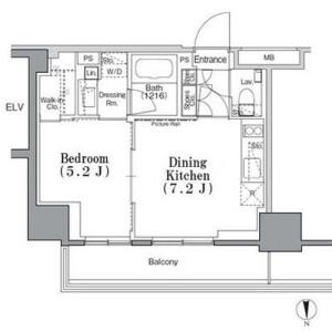 1DK Apartment in Iidabashi - Chiyoda-ku Floorplan