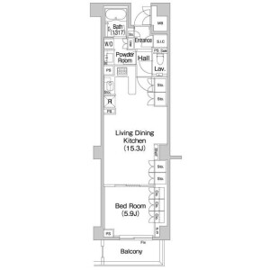 1LDK 맨션 in Ebisunishi - Shibuya-ku Floorplan