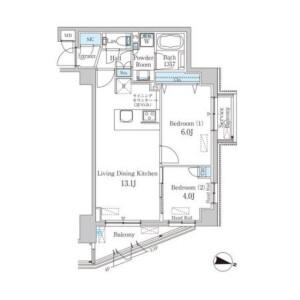涩谷区南平台町-2LDK公寓大厦 楼层布局