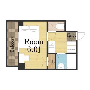 1K Apartment in Isoji - Osaka-shi Minato-ku Floorplan