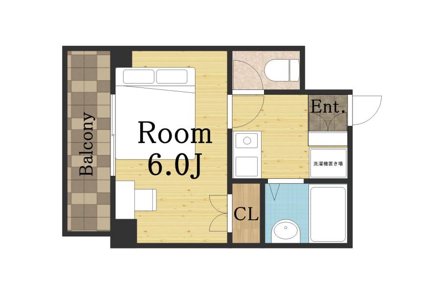 1K Apartment to Rent in Osaka-shi Minato-ku Floorplan