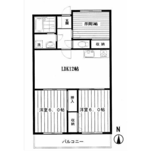 3LDK Mansion in Kamiyoga - Setagaya-ku Floorplan