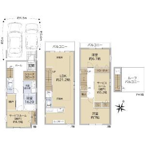 2SLDK {building type} in Kidacho - Kobe-shi Nada-ku Floorplan