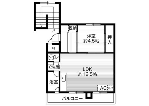 1LDK Apartment to Rent in Akabira-shi Floorplan