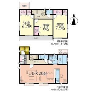 3LDK House in Yokomizo - Mizuma-gun Oki-machi Floorplan