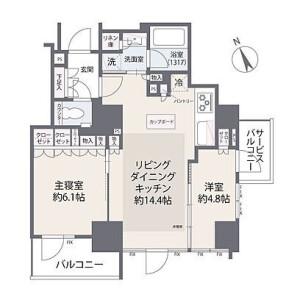 2LDK {building type} in Nishishimbashi - Minato-ku Floorplan