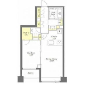 1LDK Apartment in Mita - Meguro-ku Floorplan