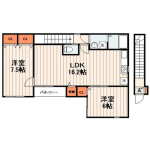 2LDK Apartment in Higashinippori - Arakawa-ku Floorplan