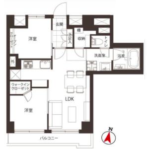 2LDK {building type} in Nihombashihamacho - Chuo-ku Floorplan