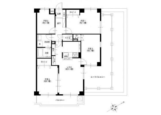 4LDK Apartment to Buy in Yokohama-shi Konan-ku Floorplan