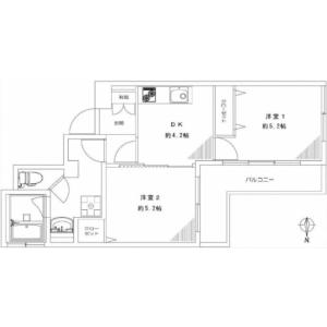 2DK {building type} in Ohashi - Meguro-ku Floorplan