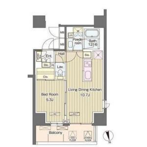 1LDK Mansion in Nishishinjuku - Shinjuku-ku Floorplan