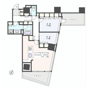 港区西麻布-2LDK公寓 楼层布局