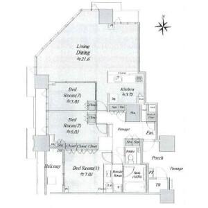 3LDK {building type} in Harumi - Chuo-ku Floorplan