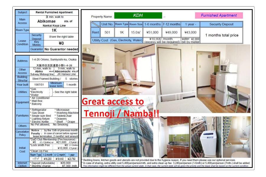 1K Apartment to Rent in Osaka-shi Sumiyoshi-ku View
