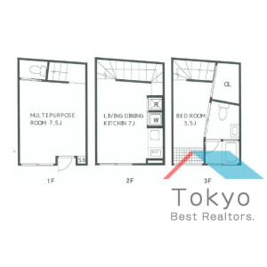 1SLDK Apartment in Shimbashi - Minato-ku Floorplan