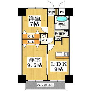 2LDK Mansion in Daikoku - Osaka-shi Naniwa-ku Floorplan
