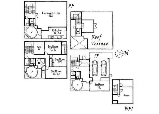 4LDK House to Rent in Shibuya-ku Floorplan