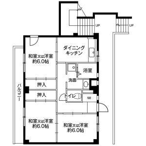 3DK Mansion in Chigusacho - Chiba-shi Hanamigawa-ku Floorplan