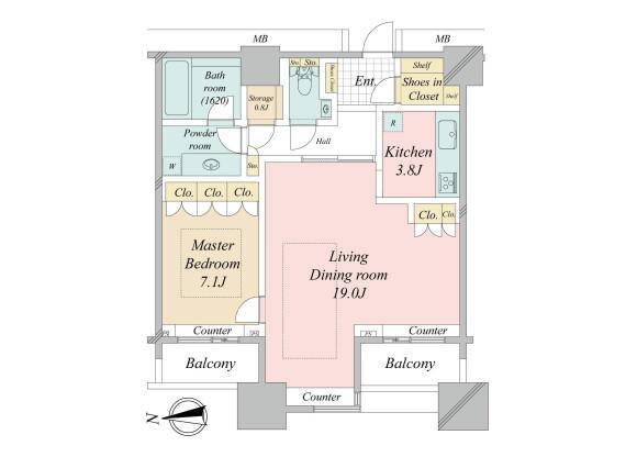 在港区购买1LDK 公寓大厦的 楼层布局