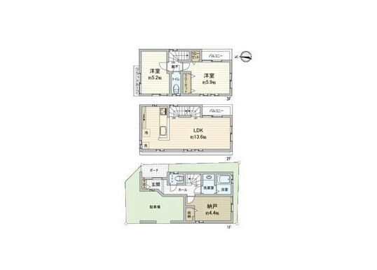2LDK House to Buy in Ota-ku Floorplan