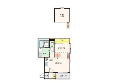 1LDK Apartment to Rent in Osaka-shi Nishiyodogawa-ku Floorplan