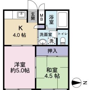 2K Apartment in Yakuendai - Funabashi-shi Floorplan