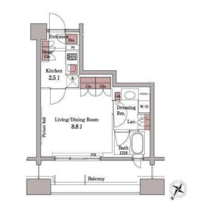 1K Mansion in Shirokanedai - Minato-ku Floorplan