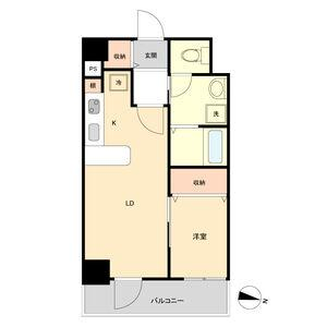1LDK Apartment in Shinsakae - Nagoya-shi Naka-ku Floorplan