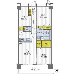 3LDK {building type} in Wakatakecho - Toyonaka-shi Floorplan