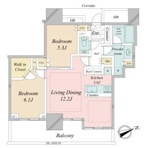2LDK Apartment in Azabumamianacho - Minato-ku Floorplan