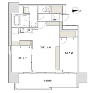 2LDK Apartment in Sakae - Nagoya-shi Naka-ku Floorplan