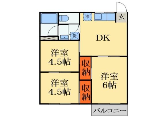 3DK Apartment to Rent in Chiba-shi Chuo-ku Floorplan