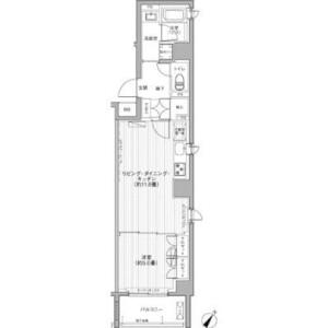 港區赤坂-1LDK公寓大廈 房間格局