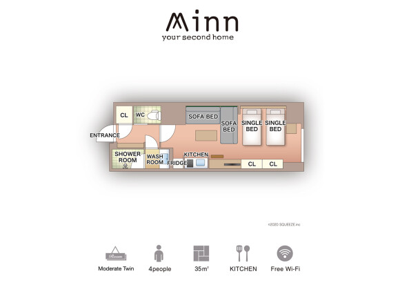 1R Serviced Apartment to Rent in Taito-ku Floorplan