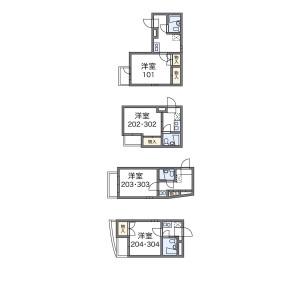 新宿区早稲田鶴巻町-1K公寓大厦 楼层布局